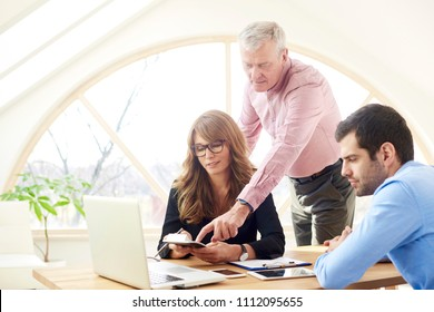 Business team working together at the office. Attractive middle aged financial director businesswoman and young financial assistant consulting with senior businessman about a new business plan.