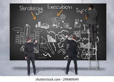 Business team writing against composite image of black card
