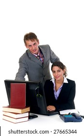 Business team, young businessman and female assistant, secretary in the office.  Studio, white background.