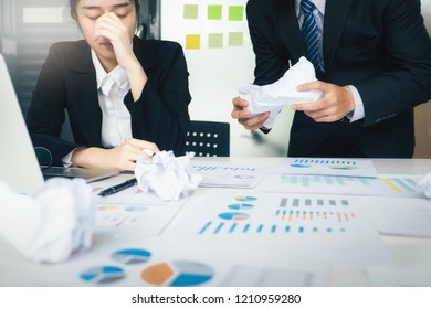 Business teamwork blaming partner and serious discussion. Colleagues argue about investment document  disagree having conflict at work, diverse coworkers disputing about mistake in paperwork.