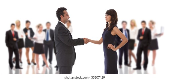 business teamwork concept with a handshake and big team