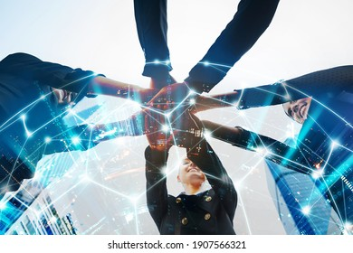 Business teamwork and network technology concept, Double exposure of professional business woman team putting their hand together for Celebration unity