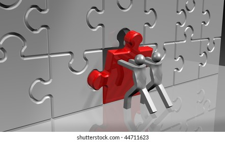 business teamwork - puzzle in 3d