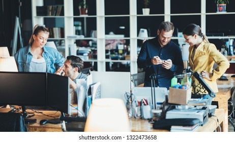 Business teamwork situation. Group of people and daily general tasks in the office