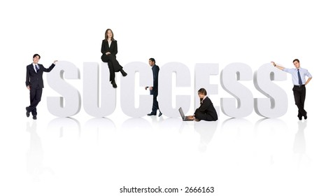 business teamwork for success - businesspeople workforce over white