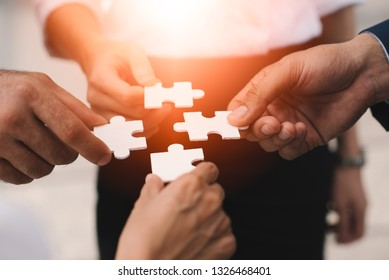 Business Teamwork The success of the organization's professional team collaboration and leadership. Development practitioners, business clients understand the market dynamics and development.