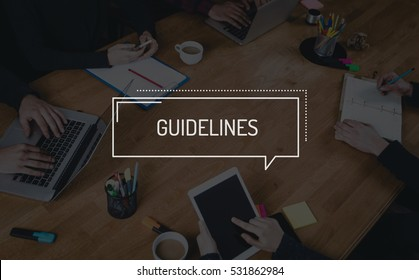 BUSINESS TEAMWORK WORKING OFFICE BRAINSTORMING GUIDELINES CONCEPT