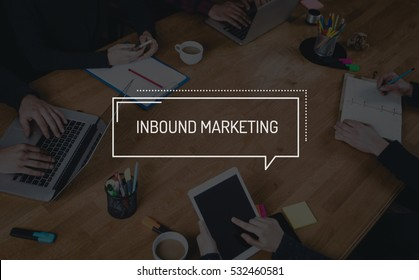 BUSINESS TEAMWORK WORKING OFFICE BRAINSTORMING INBOUND MARKETING CONCEPT