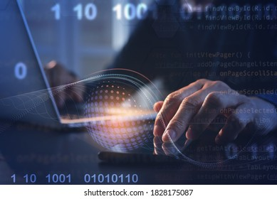 Business technology background, digital software development, IoT Internet of Things. Man programmer, software developer working on digital tablet and laptop computer with binary, html computer code