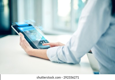 business, technology, communication and people concept - close up of woman with tablet pc computer networking at office or home