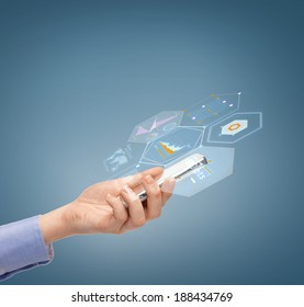 business and technology concept - close up of female hand with smartphone