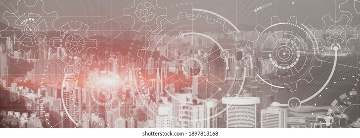 Business technology concept. Cogwheel Gears Mechanism with modern city view. Website panoramic header background.