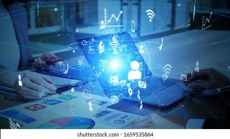 Business and technology concept. Financial technology. Fintech.