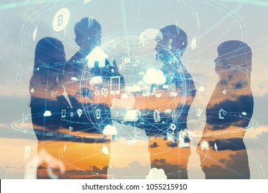 Business and technology concept. Internet of Things(IoT). Information Communication Network(ICT). Artificial Intelligence(AI).