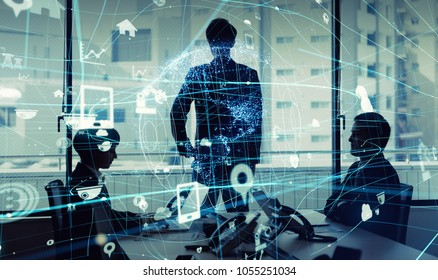 Business and technology concept. Internet of Things(IoT). Information Communication Technology(ICT). Aritificial Intelligence(AI).
