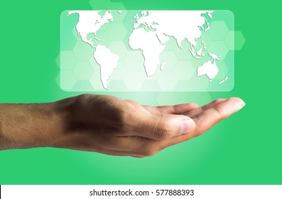 Business and Technology concept, a male hand produce the virtual screen showing the world map.