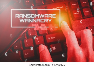 Business and Technology concept showing RANSOMWARE while the finger pressed button on the keyboard.