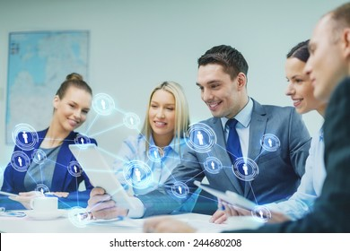 business, technology, connection, communication and people concept - smiling business team with tablet pc computer and virtual contacts projection having discussion in office