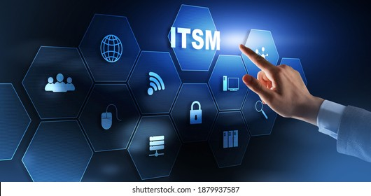 Business Technology Internet concept. Businessman pressing button on touch screen interface and select it service management.