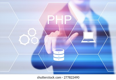 business, technology and internet concept - businessman pressing php button on virtual screens