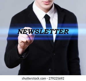 business, technology and internet concept - businessman is writing newsletter text