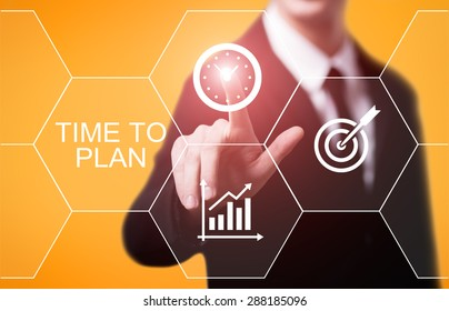 business, technology and internet concept - businessman pressing time to plan button on virtual screens