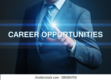 business, technology and internet concept - businessman pressing career opportunities button on virtual screens