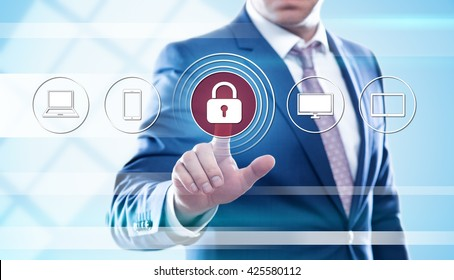 business, technology and internet concept - businessman pressing cyber security button on virtual screens