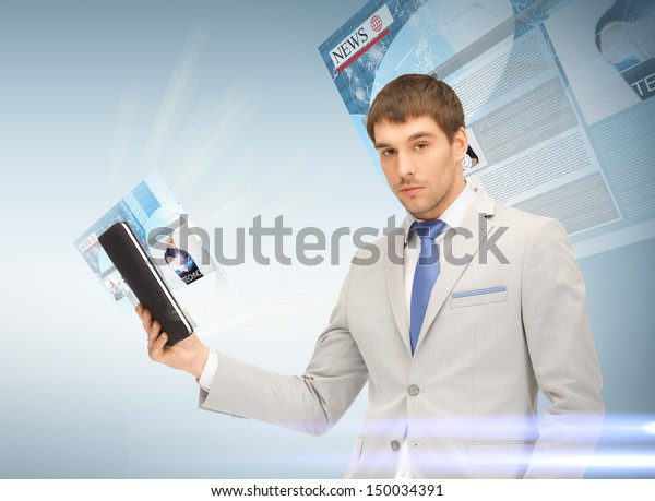 business, technology and internet concept - businessman with tablet pc reading news