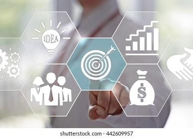 Business, technology and internet concept - businesswoman presses target button on virtual screens. Target audience concept. Businessman click on target, audience pointing to target is around target.