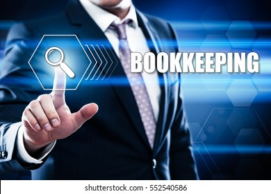 Business, technology, internet concept on hexagons and transparent honeycomb background. Businessman  pressing button on touch screen interface and select  bookkeeping
