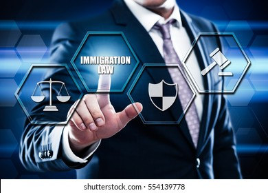 Business, technology, internet concept on hexagons and transparent honeycomb background. Businessman pressing button on touch screen interface and select immigration law