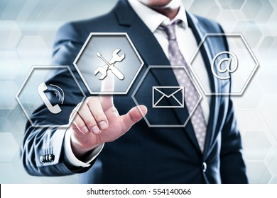 Business, technology, internet concept on hexagons and transparent honeycomb background. Businessman  pressing button on touch screen interface and select  technical support_1