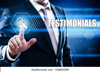 Business, technology, internet concept on hexagons and transparent honeycomb background. Businessman  pressing button on touch screen interface and select  testimonials