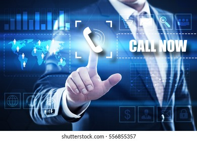 Business, technology, internet concept on hexagons and transparent honeycomb background. Businessman  pressing button on touch screen interface and select  call now