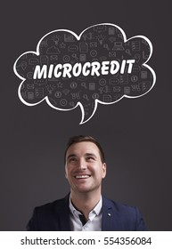 Business, Technology, Internet and marketing. Young businessman thinking about: microcredit