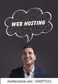 Business, Technology, Internet and marketing. Young businessman thinking about: web hosting