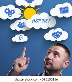 Business, Technology, Internet and marketing. Young businessman thinking about: ASP.NET