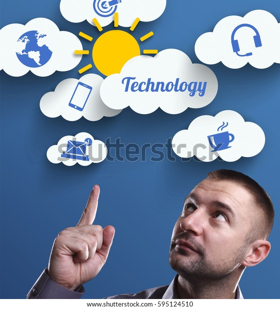 Business, Technology, Internet and marketing. Young businessman thinking about: Technology