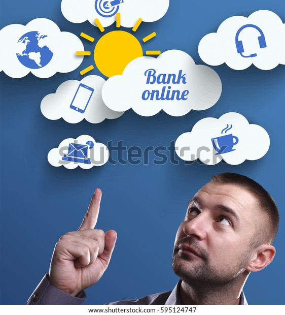 Business, Technology, Internet and marketing. Young businessman thinking about: Bank online