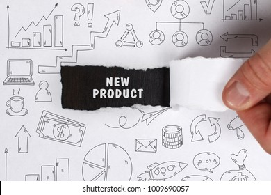 Business, Technology, Internet and network concept. Young businessman shows the word: New product