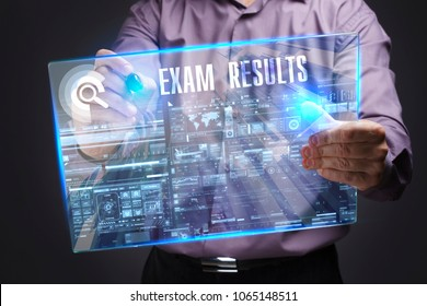 Business, Technology, Internet and network concept. Young businessman working on a virtual screen of the future and sees the inscription: Exam results