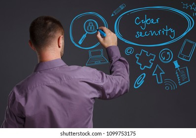 Business, Technology, Internet and network concept. A young businessman writes on the blackboard the word: Cyber security