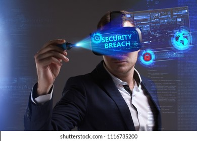 Business, Technology, Internet and network concept. Young businessman working in virtual reality glasses sees the inscription: Security breach