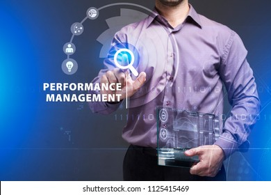 Business, Technology, Internet and network concept. Young businessman working on a virtual screen of the future and sees the inscription: Performance management