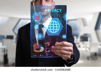 Business, Technology, Internet and network concept. Young businessman working on a virtual screen of the future and sees the inscription: Privacy