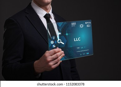 Business, Technology, Internet and network concept. Young businessman working on a virtual screen of the future and sees the inscription: LLC
