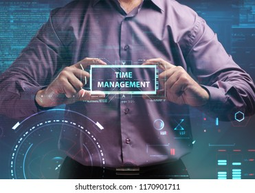 Business, Technology, Internet and network concept. Young businessman working on a virtual screen of the future and sees the inscription: Time management