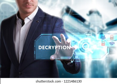 Business, Technology, Internet and network concept. Young businessman working on a virtual screen of the future and sees the inscription: Decryption