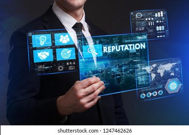 Business, Technology, Internet and network concept. Young businessman working on a virtual screen of the future and sees the inscription: Reputation